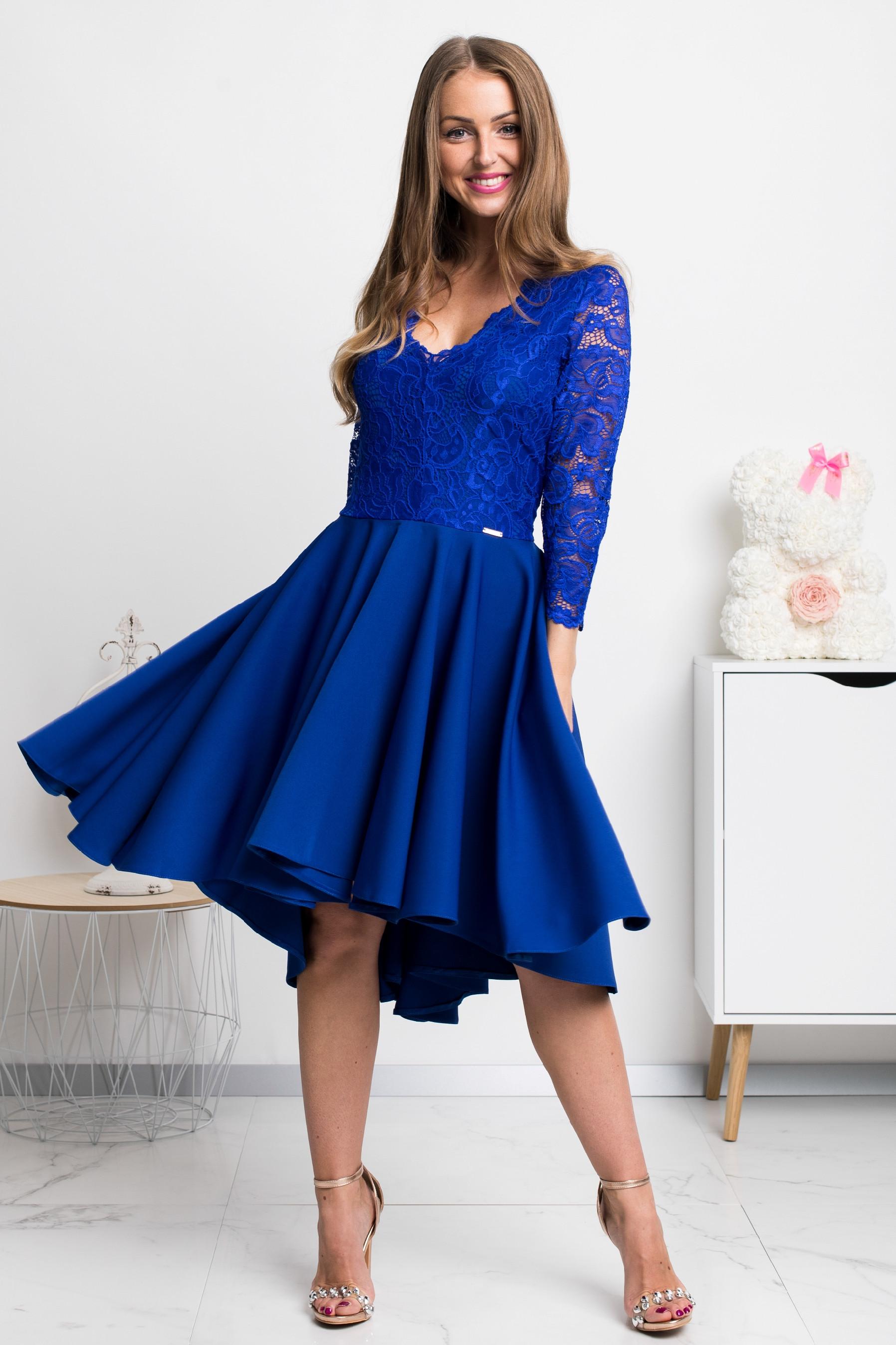 Modré asymetrické šaty s čipkou Veľkosť: XXXL