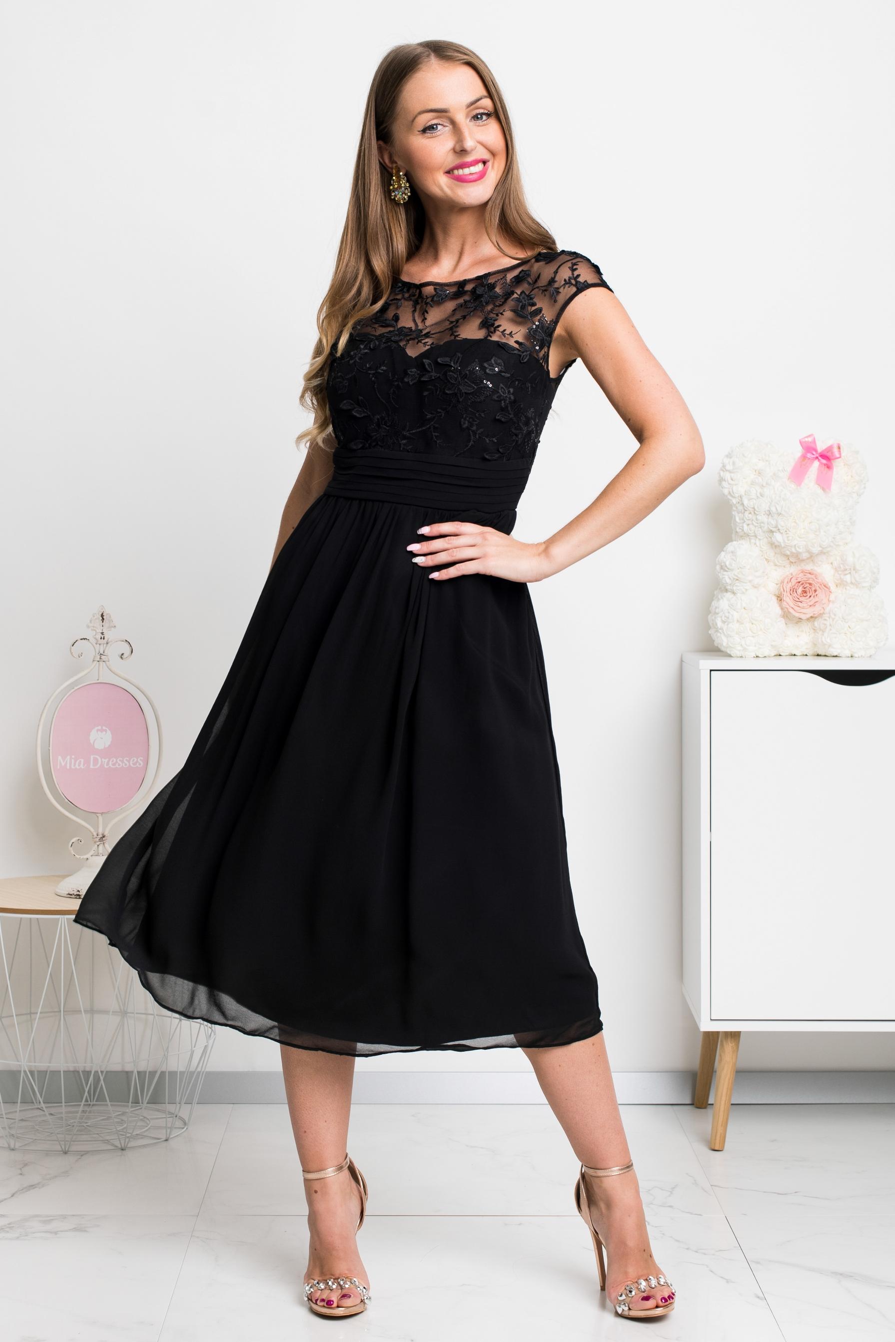 Čierne šifónové midi šaty Veľkosť: S