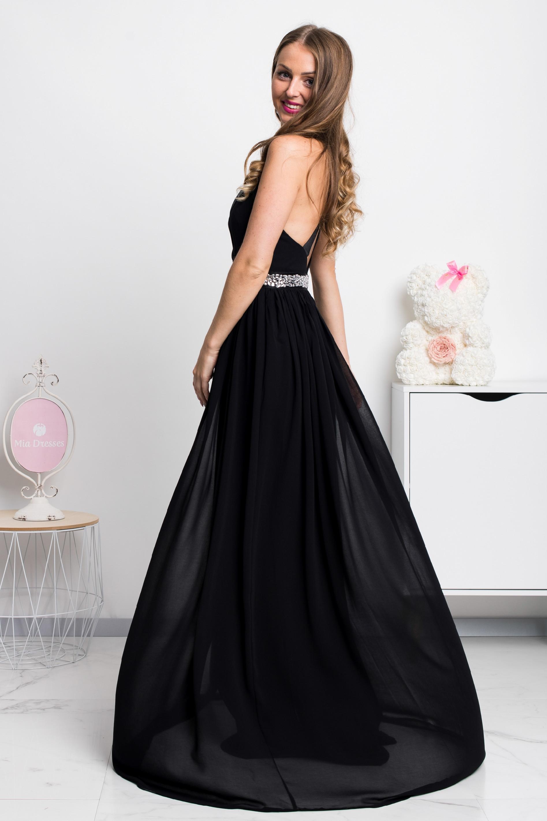 Čierne spoločenské šifónové šaty Veľkosť: L