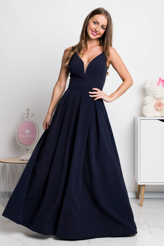 Tmavomodré dlhé spoločenské šaty Veľkosť: XS