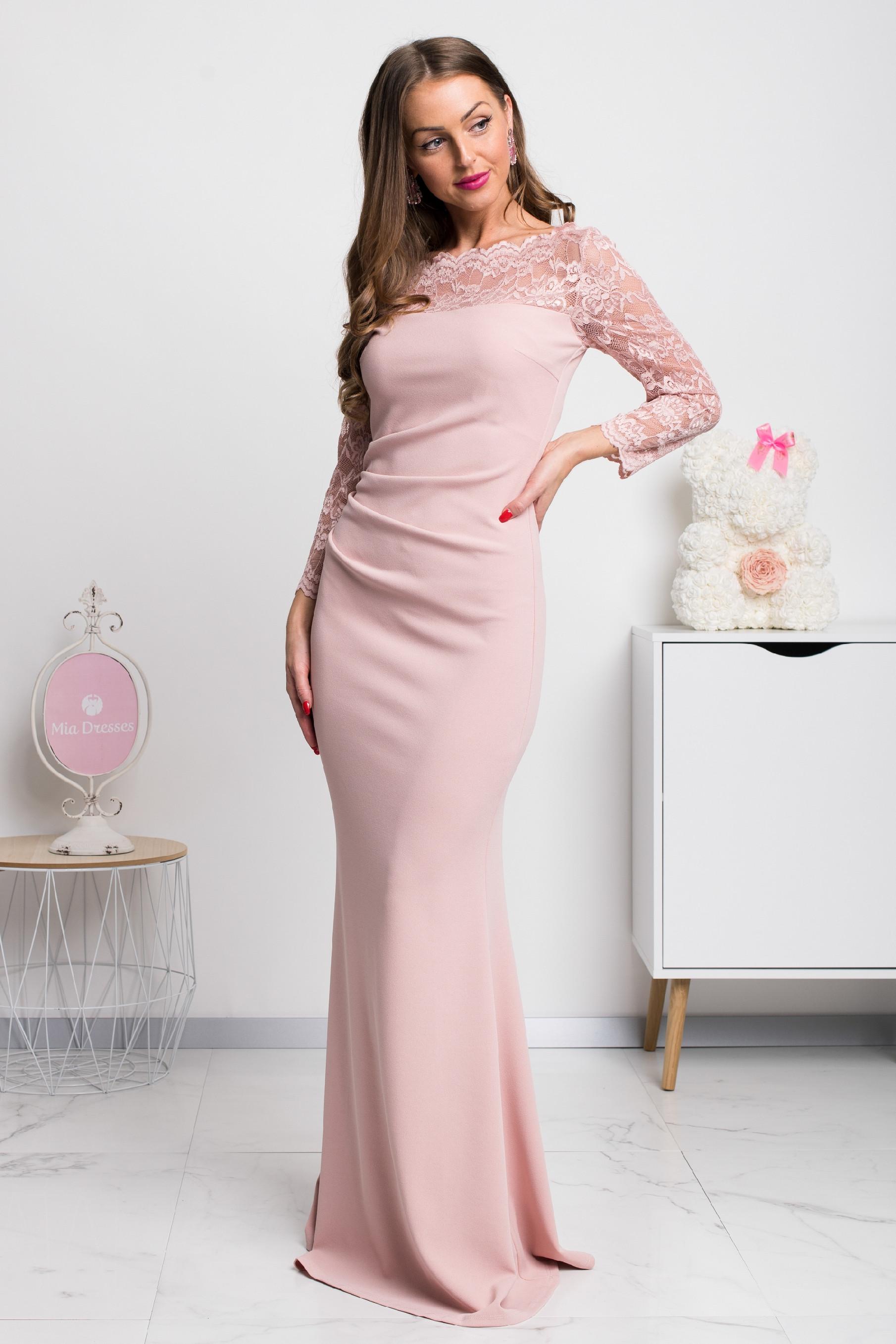 Staroružové dlhé priliehavé šaty s čipkou Veľkosť: S