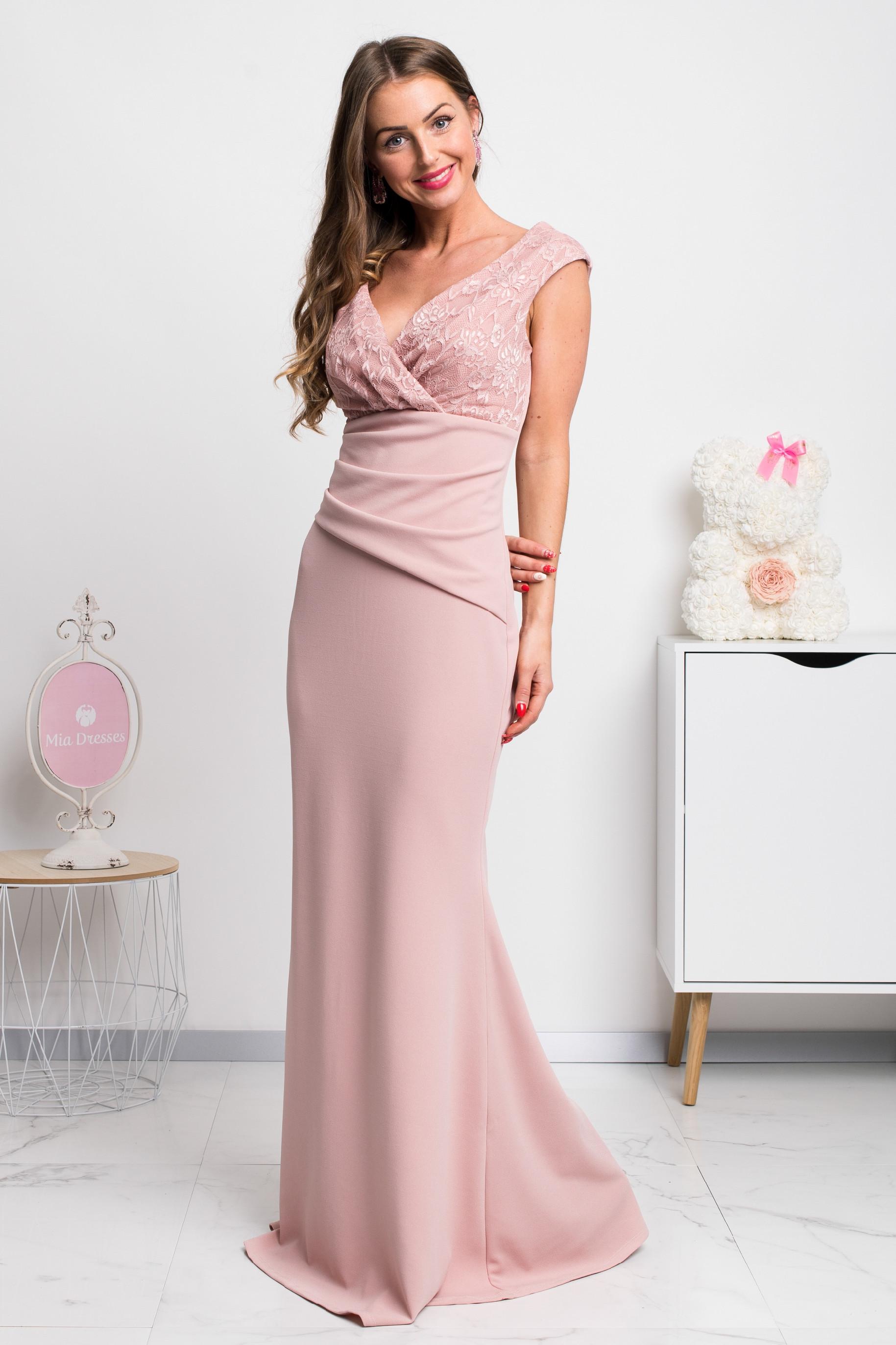 Staroružové dlhé spoločenské šaty s čipkou Veľkosť: S