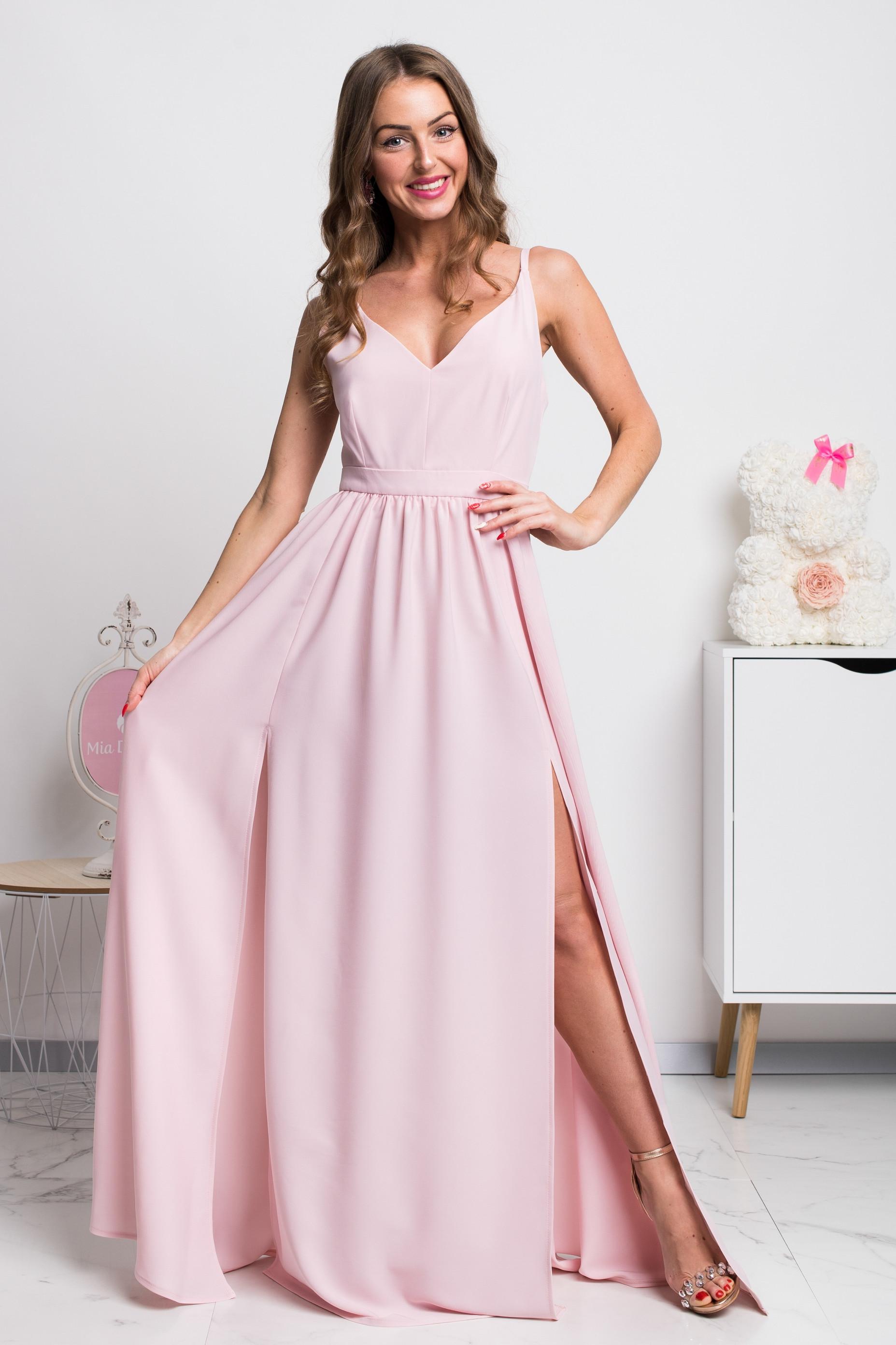 Svetloružové dlhé spoločenské šaty s rozparkami Veľkosť: XS