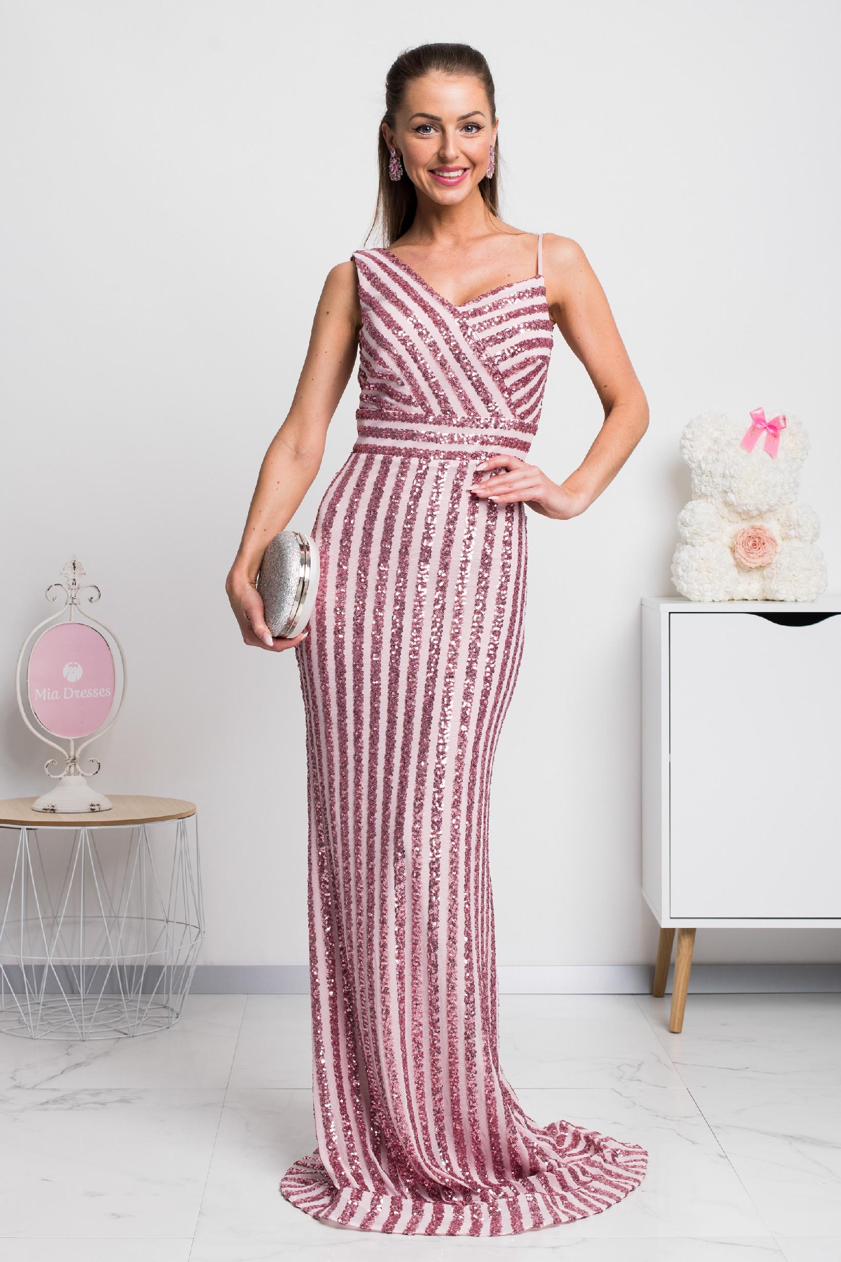 Ružové spoločenské šaty s flitrami Veľkosť: M