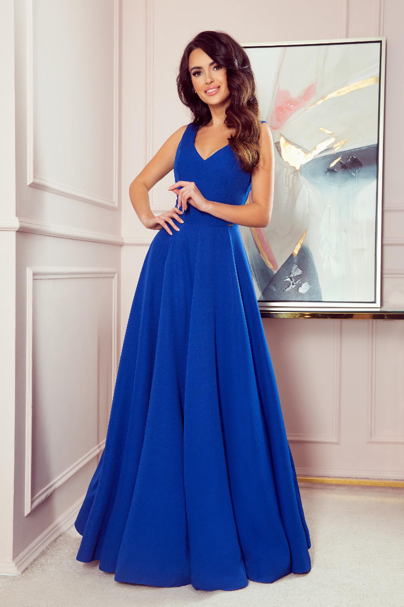 Modré dlhé spoločenské šaty Veľkosť: L