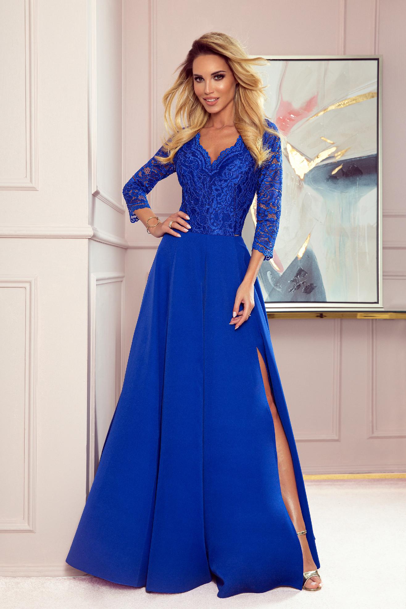 Modré spoločenské šaty s čipkou Veľkosť: XL