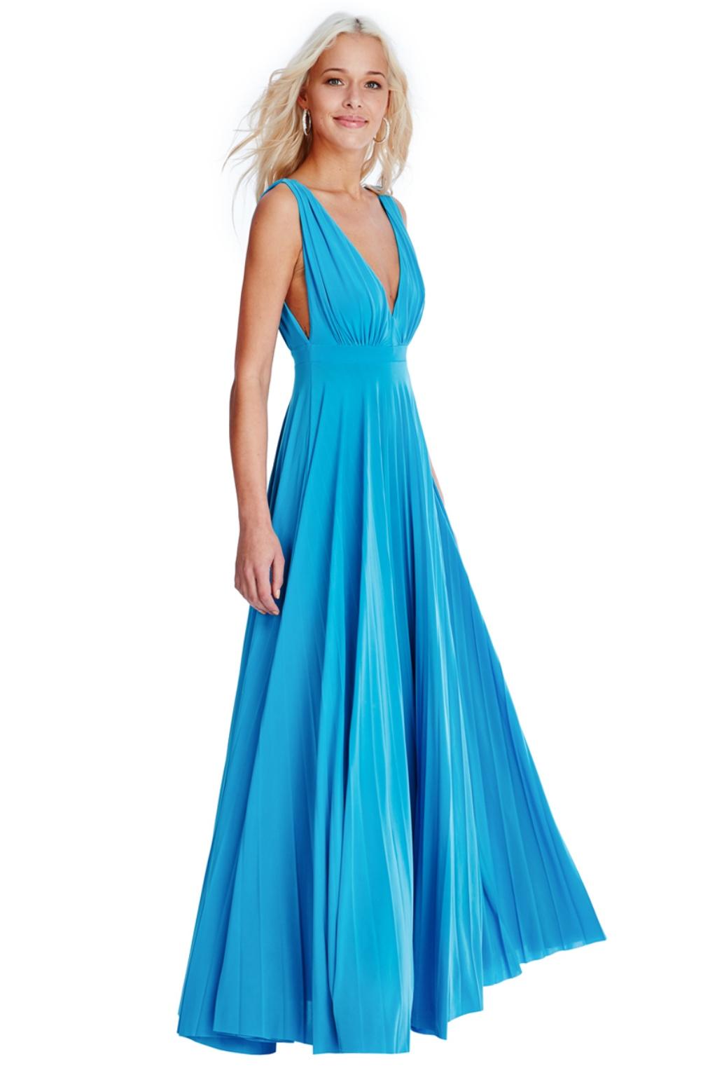 Tyrkysové spoločenské šaty s plisovanou sukňou Veľkosť: M/L