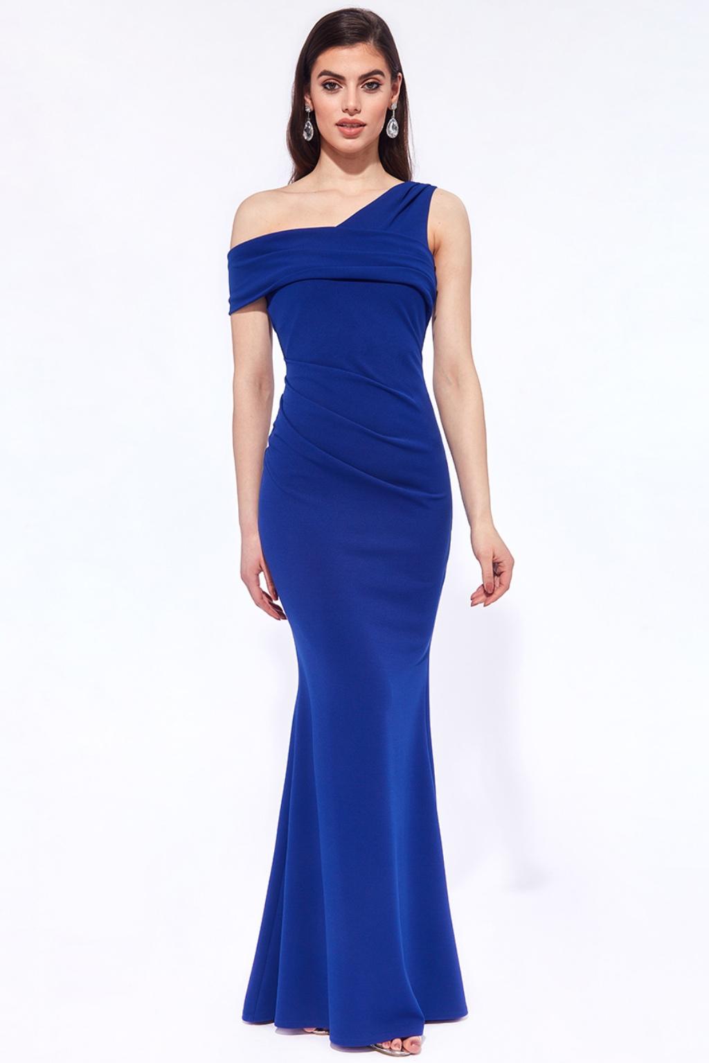 Modré priliehavé spoločenské šaty Veľkosť: XL