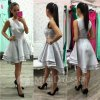 Strieborné spoločenské asymetrické šaty
