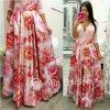 Kvetinová dlhá saténová sukňa