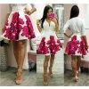Smotanová kvetinová mini sukňa