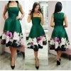 Zelené áčkové šaty s kvetinami