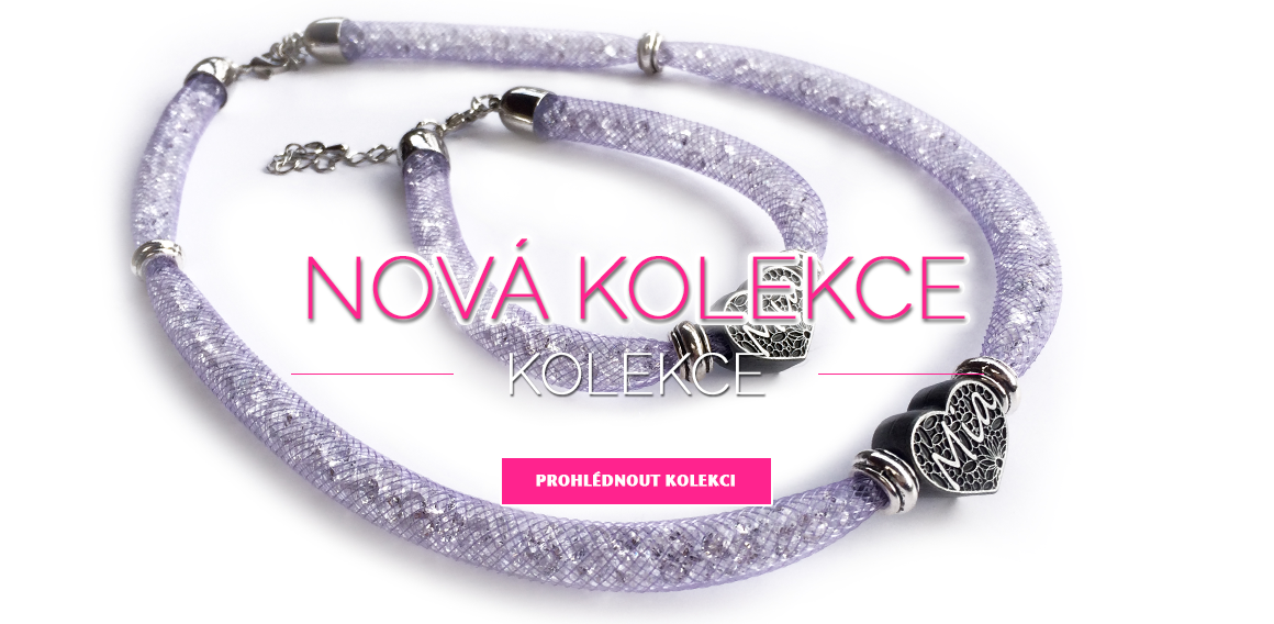 Nová kolekce náhrdelník s náramkem sypaný kamínky