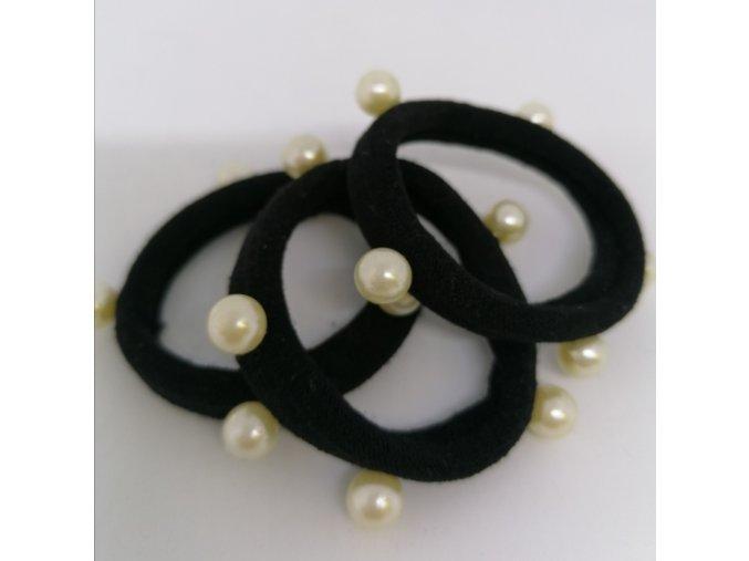 Gumička černá s perličkami