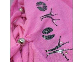 šátek s MIA potiskem, světle růžový