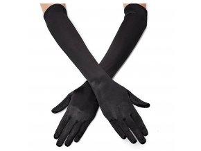 Saténové černé rukavičky