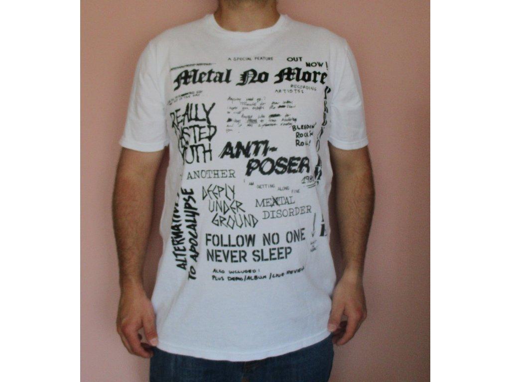 10979cd88620 Bílé pánské tričko Pull Bear - Miavimoda.cz