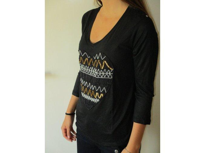 Černé tričko s dlouhým rukávem Cache Cache