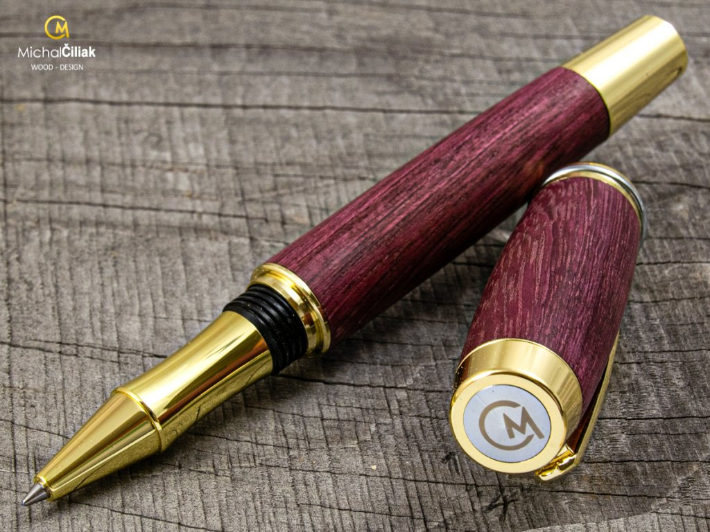 Dřevěné kuličkové pero Superior Superior Purpleheart - Burly gold (Gravírování Na pero i krabičku (+500Kč), Krabička Dubová krabička (+740Kč))