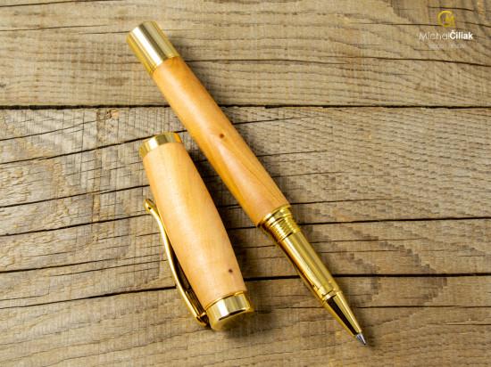 Dřevěné kuličkové pero Superior Pear Tree - Elegant gold (Gravírování Na pero i krabičku (+500Kč), Krabička Dubová krabička (+740Kč))