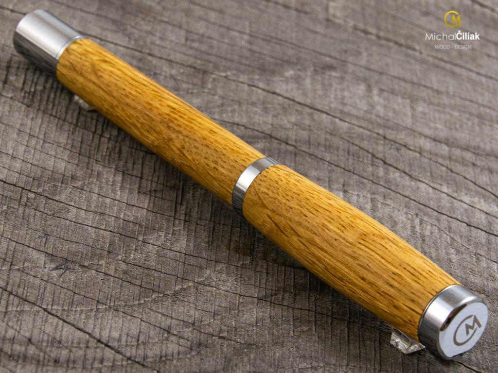 Exclusive und luxuriöse kugelschreiber von herausragender Qualität Oak - Elegant chromedesign (Gravur Gravur des Stiftes und der Box (+25 €), Box Box aus Eiche (+39 €))
