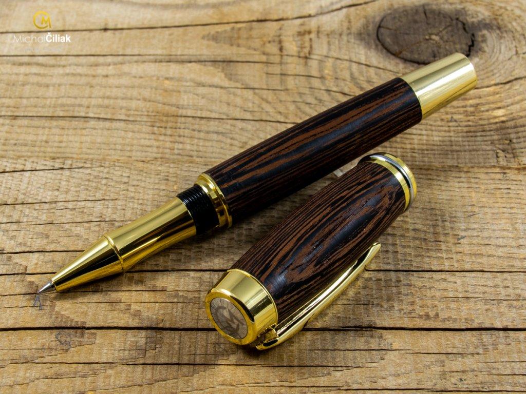 Exclusive und luxuriöse kugelschreiber von herausragender Qualität Wengé - Burly goldfarbenen (Gravur Gravur des Stiftes und der Box (+25 €), Box Box aus Eiche (+39 €))