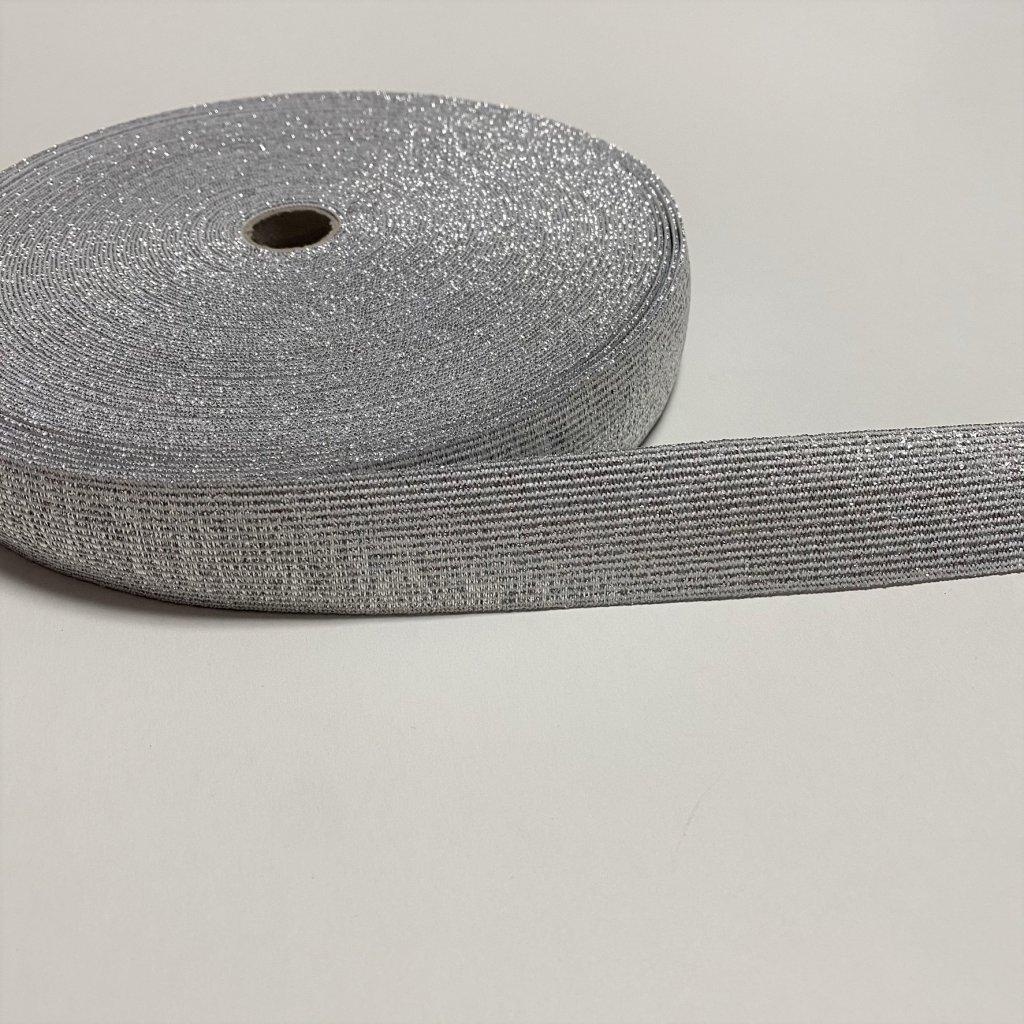 guma pruženka plochá 40mm stříbrná