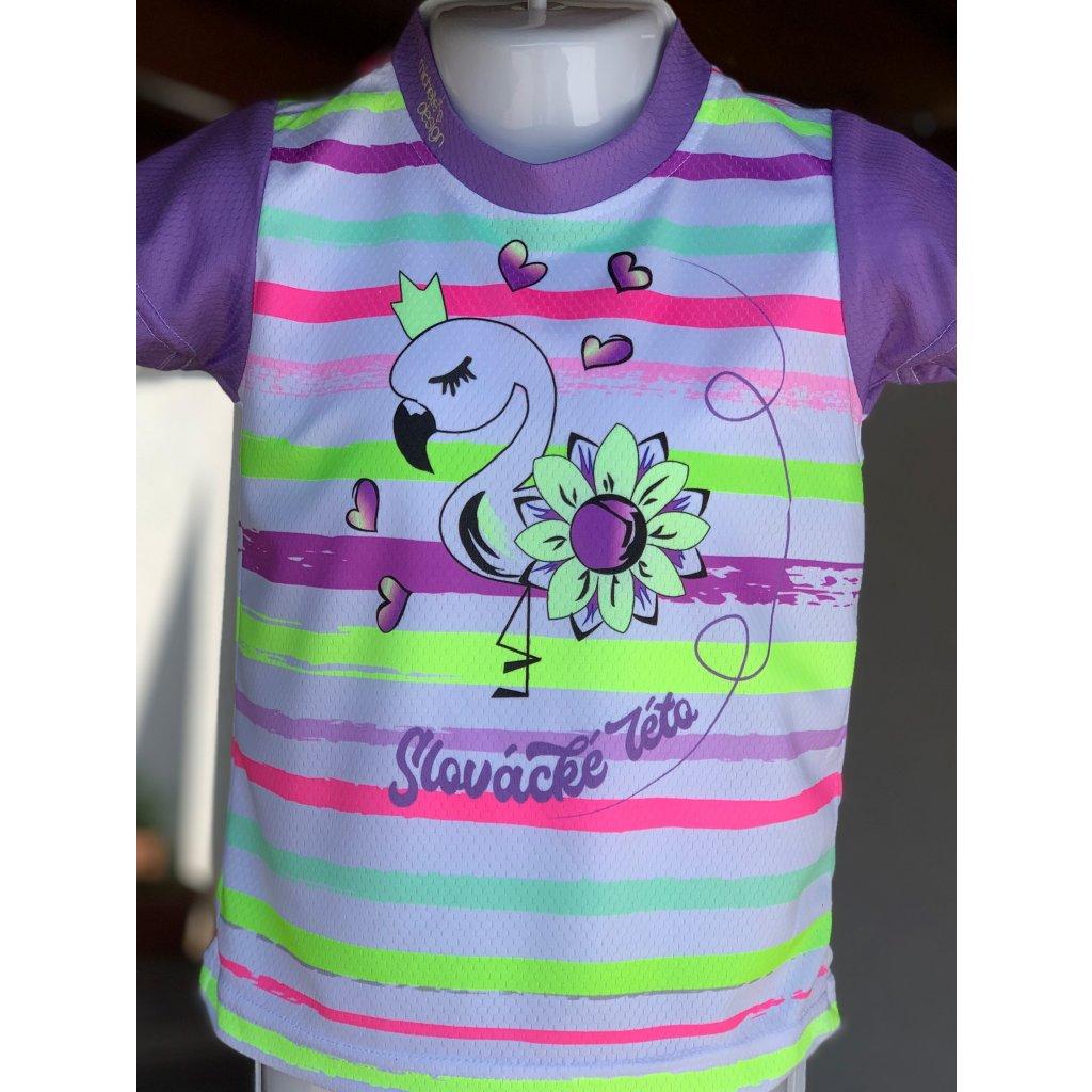 dětské funkční tričko Slovácké léto plameňák duha