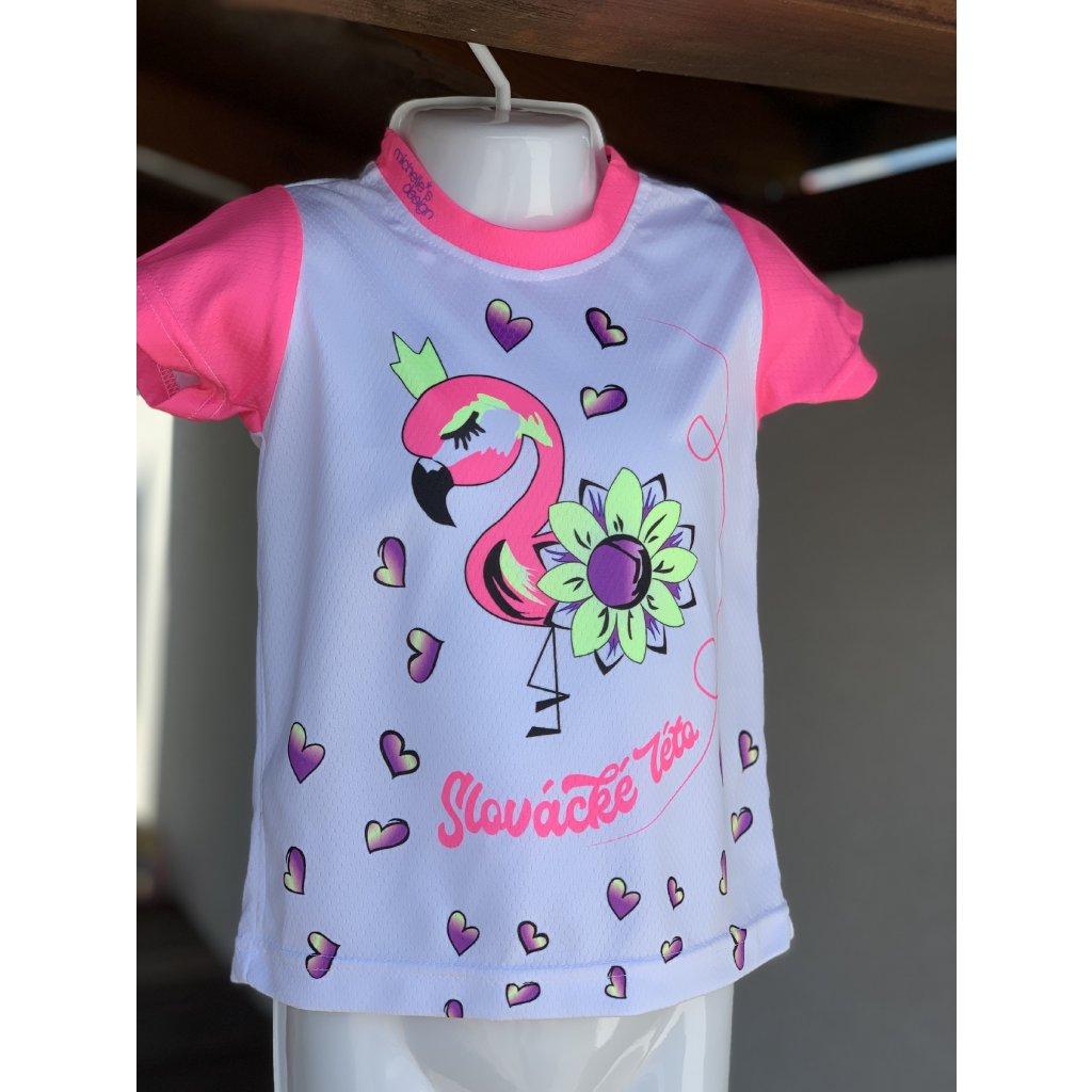 dětské funkční tričko Slovácké léto plameňák růžová tmavá