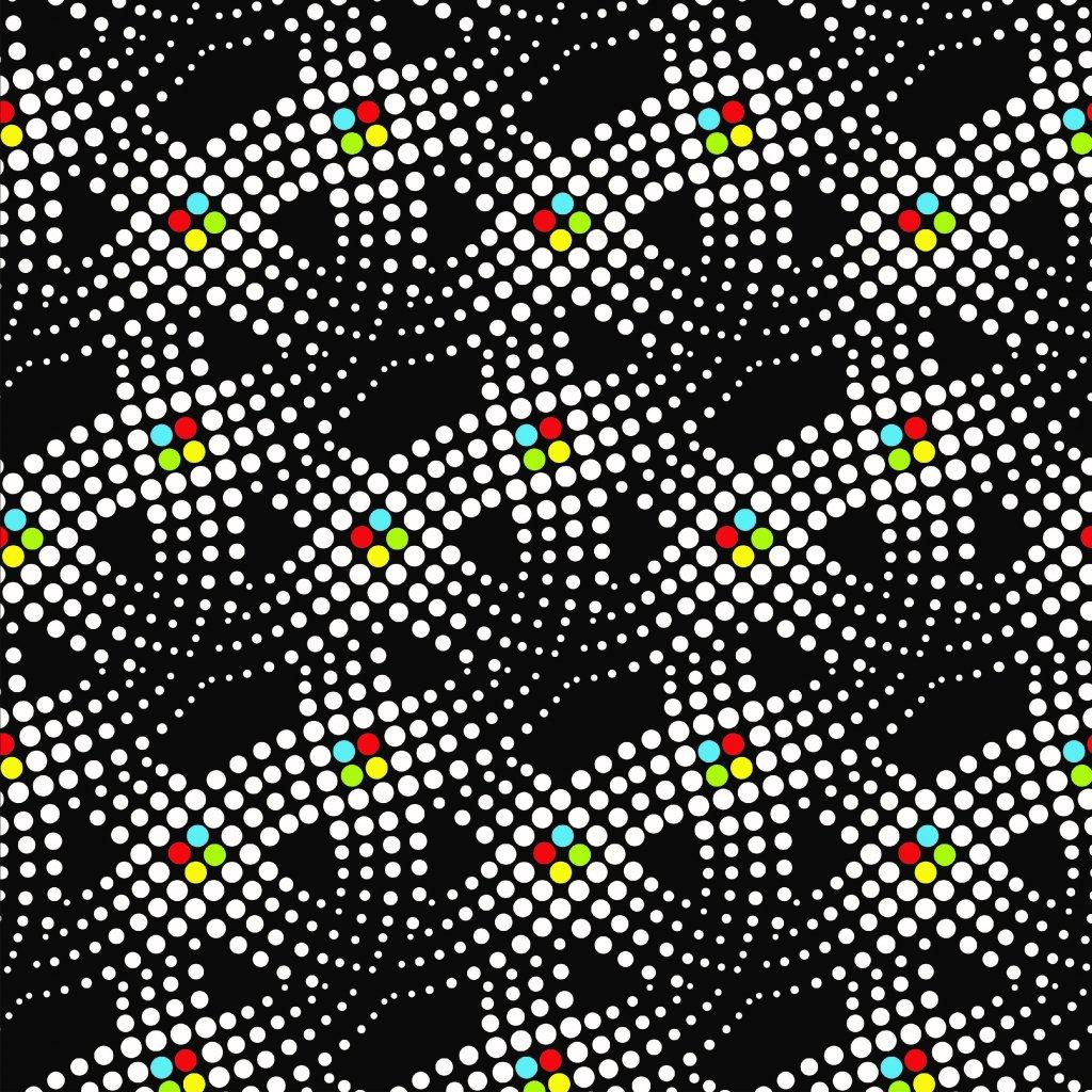 tečky čtyřbarva na černé 748001 (vyberte materiál zimní softshell elastický (šíře 150cm) 280g  10000/10000)