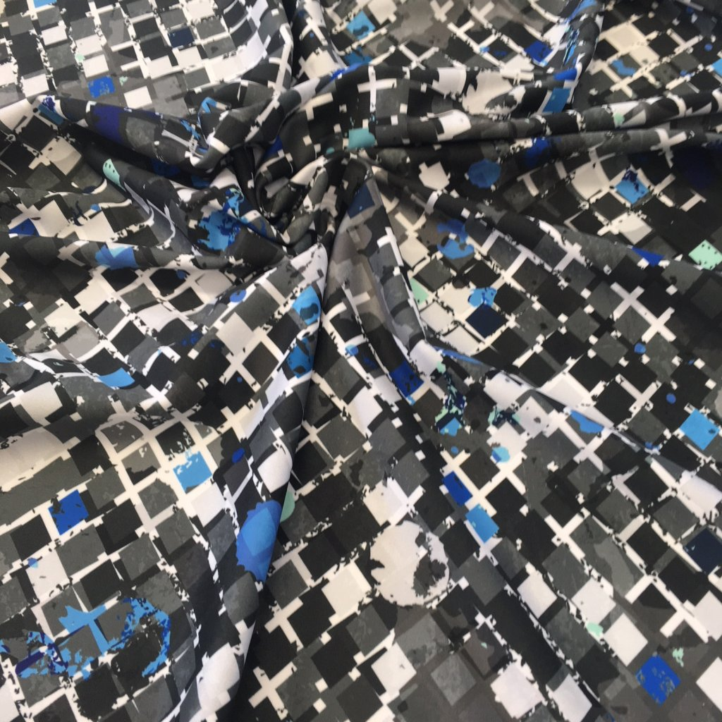 kostičky abstrakt modré 722002 (vyberte materiál zimní softshell elastický (šíře 150cm) 280g  10000/10000)