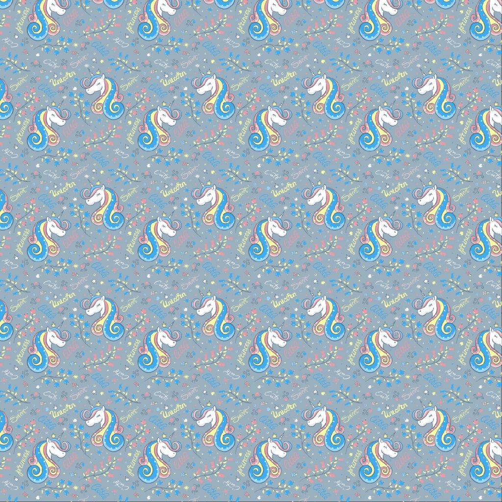 jednorožci na šedé 717004 (vyberte materiál zimní softshell elastický (šíře 150cm) 280g  10000/10000)