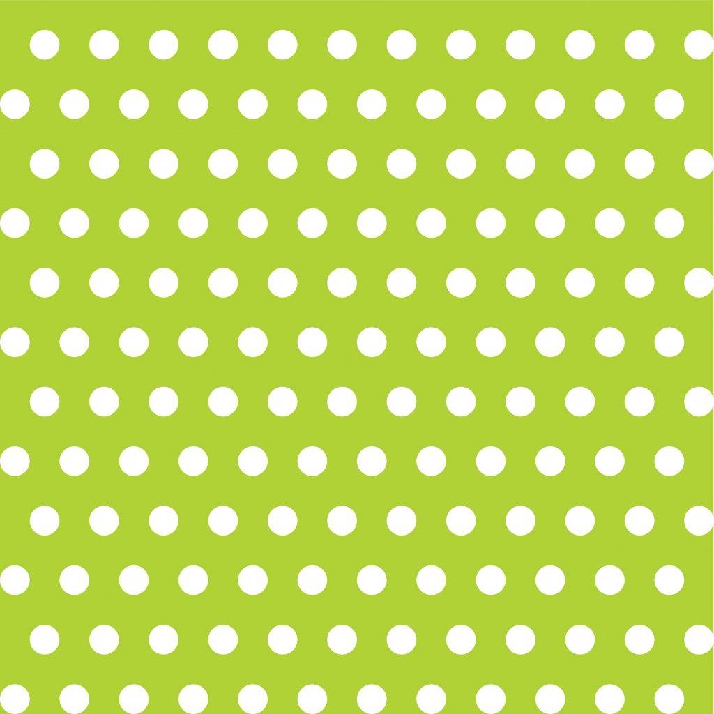 748039 PUNTÍK 1cm bílý na zelené