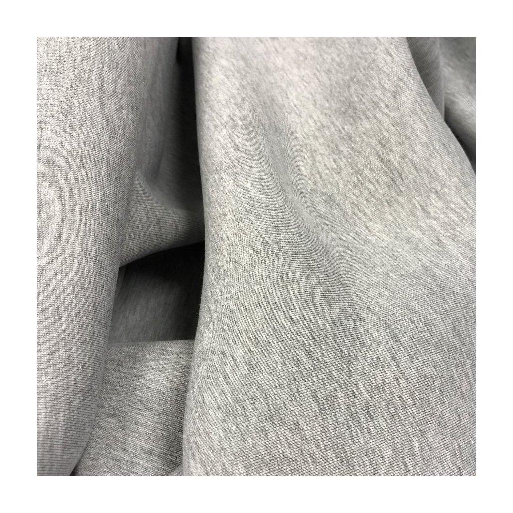 teplákovina počesaná 340g - světle šedý melír