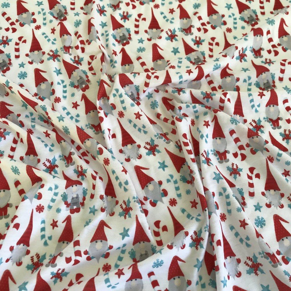 vánoční skřítek na bílé 758028 (vyberte materiál zimní softshell elastický (šíře 150cm) 280g  10000/10000)
