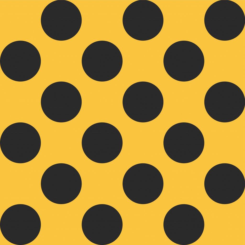 748250 puntík 6cm černý na hořčicové