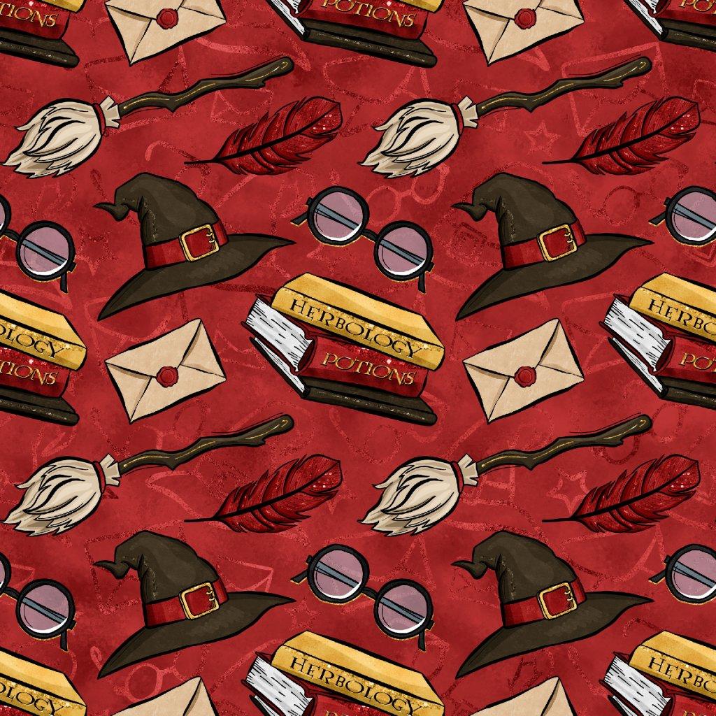 škola čar a kouzel klobouky na červené 723001 (vyberte materiál zimní softshell elastický (šíře 150cm) 280g  10000/10000)
