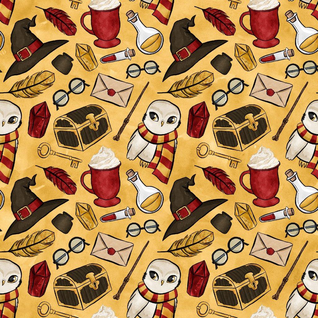 škola čar a kouzel červená se sovou na žluté 723002 (vyberte materiál zimní softshell elastický (šíře 150cm) 280g  10000/10000)