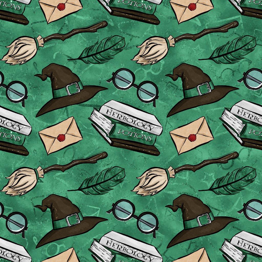 škola kouzel klobouky na zelené 723025 (vyberte materiál zimní softshell elastický (šíře 150cm) 280g  10000/10000)