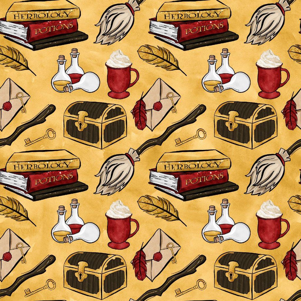 škola čar a kouzel červená na žluté 723009 (vyberte materiál zimní softshell elastický (šíře 150cm) 280g  10000/10000)