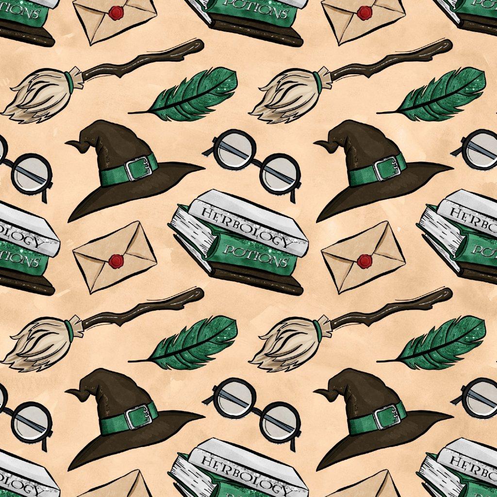 škola čar a kouzel zelené klobouky na béžové 723035 (vyberte materiál zimní softshell elastický (šíře 150cm) 280g  10000/10000)