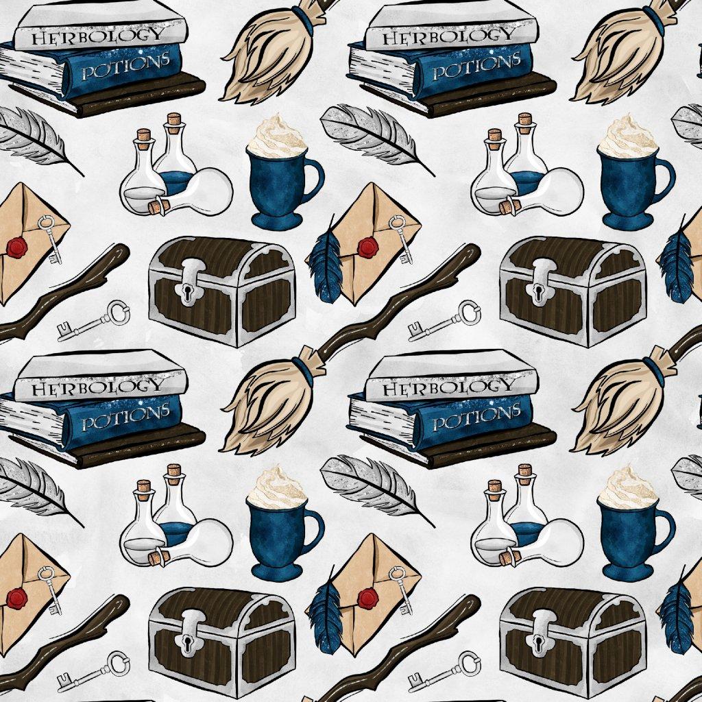 škola čar a kouzel modrá na světle šedé 723045 (vyberte materiál zimní softshell elastický (šíře 150cm) 280g  10000/10000)