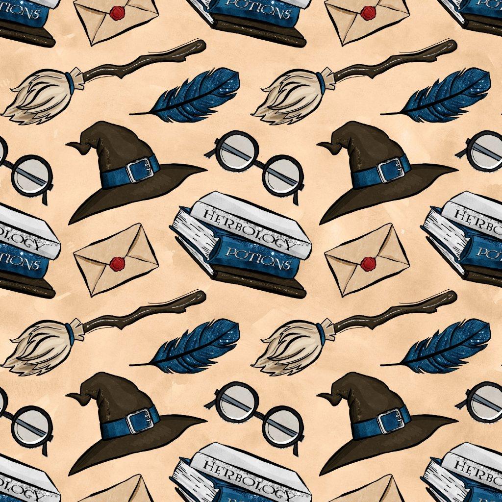 škola čar a kouzel modré klobouky na béžové 723047 (vyberte materiál zimní softshell elastický (šíře 150cm) 280g  10000/10000)