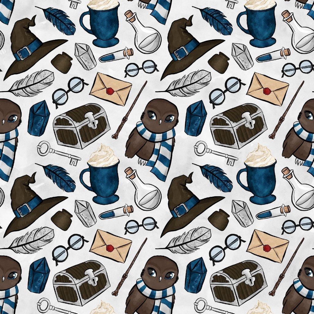 škola čar a kouzel na modré se sovou na světle šedé 723038 (vyberte materiál zimní softshell elastický (šíře 150cm) 280g  10000/10000)