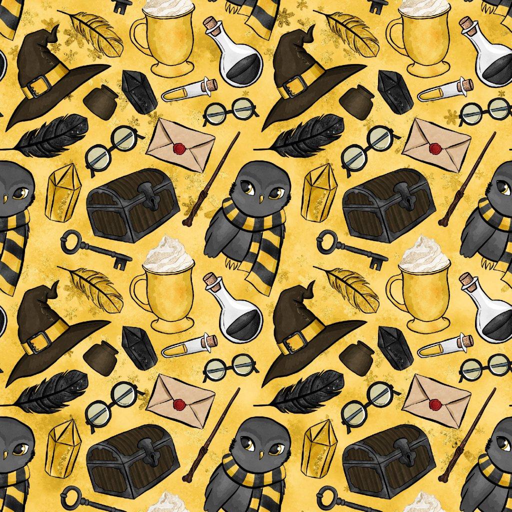 škola čar a kouzel žlutá se sovou žluté 723017 (vyberte materiál zimní softshell elastický (šíře 150cm) 280g  10000/10000)