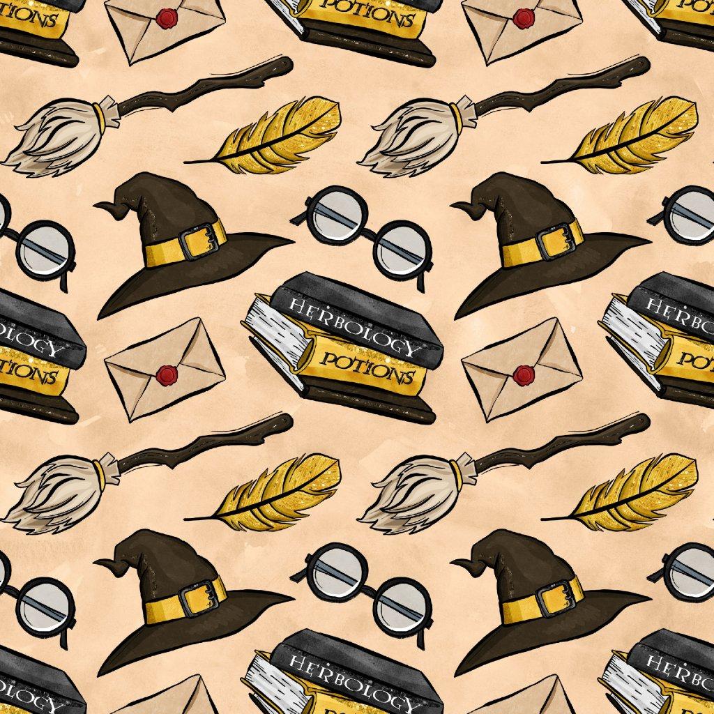 škola čar a kouzel žluté klobouky na béžové 723023 (vyberte materiál zimní softshell elastický (šíře 150cm) 280g  10000/10000)