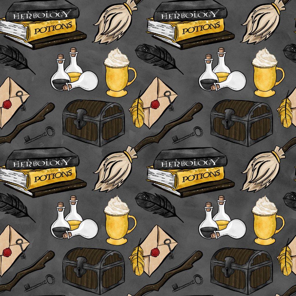 škola čar a kouzel žlutá na tmavě šedé 723021 (vyberte materiál zimní softshell elastický (šíře 150cm) 280g  10000/10000)