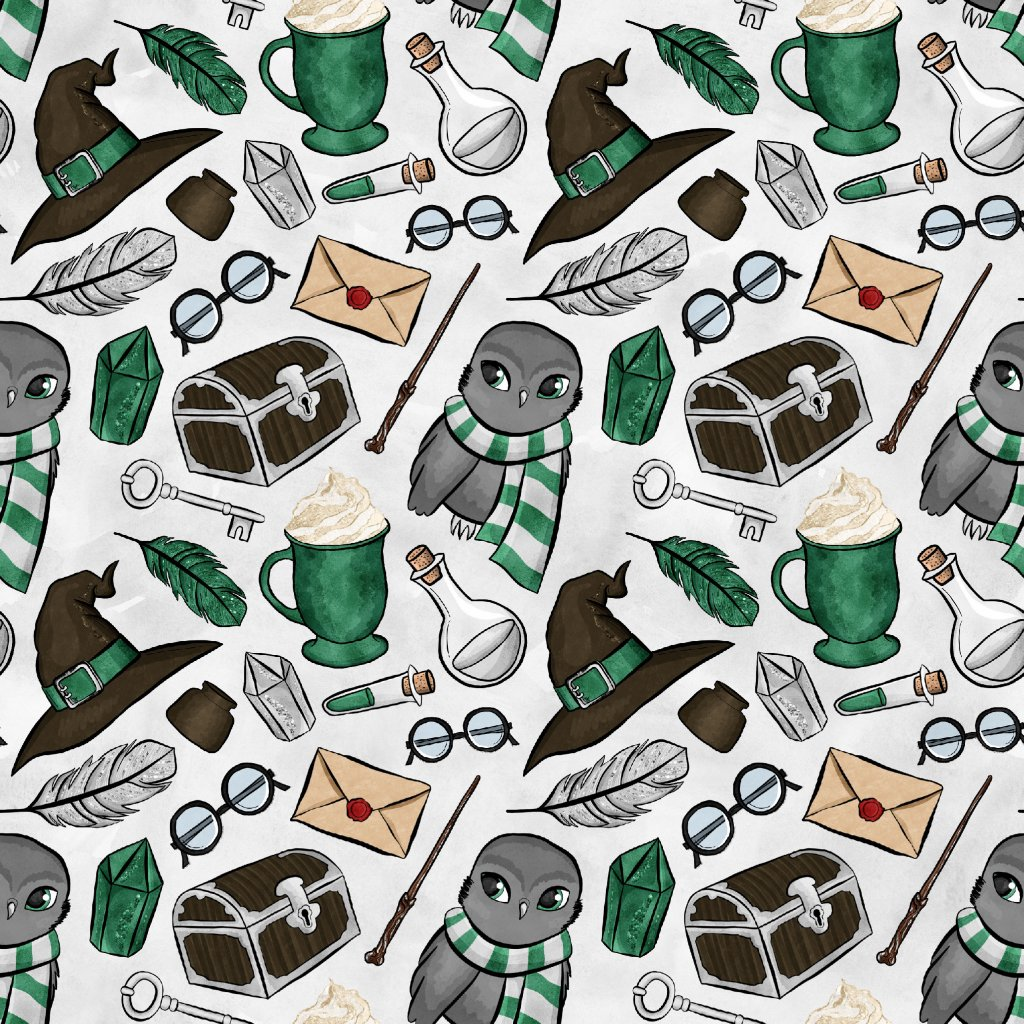 škola čar a kouzel zelená se sovou na světle šedé 723026 (vyberte materiál zimní softshell elastický (šíře 150cm) 280g  10000/10000)