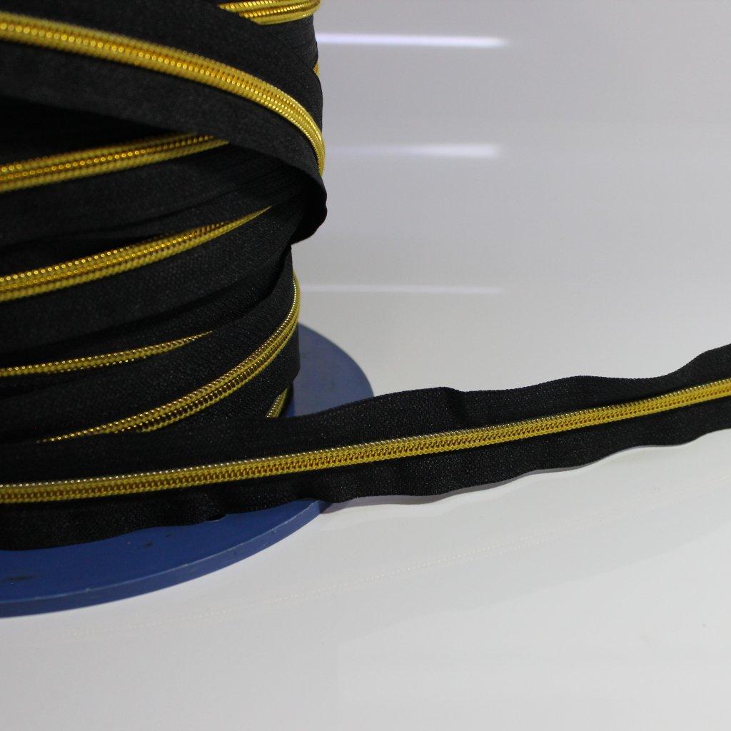 zip spirálový nekonečný No5 - černo zlatý