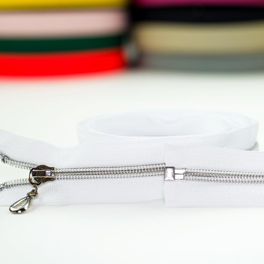 zip spirála stříbrná No5 dělitelný bílá